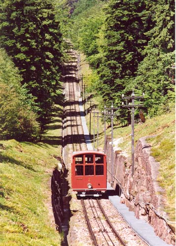 The upper historic funicular